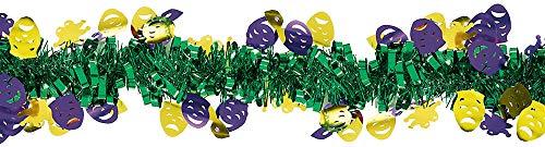 Mardi Gras Party Tinsel Garland, 15' -
