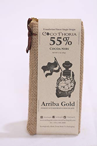 LIMITED EDITION. CocoPhoria 55% with cocoa nibs, by Arriba Gold, 85 grams, pack of 10