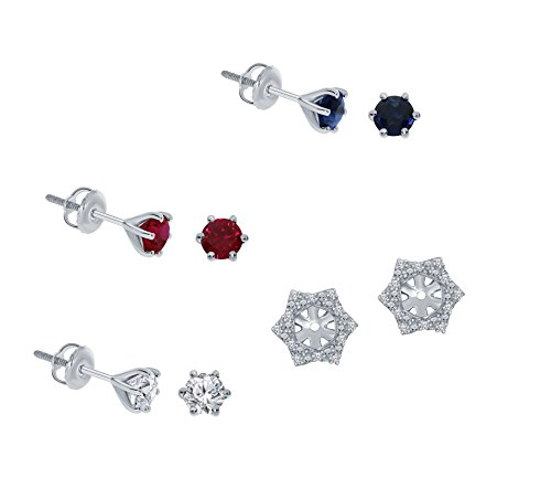 1/10ct White Diamond Sterling Silver Jacket Earring Blue Sapphire Ruby White Sapphire Gemstone Stud Earring Set by La Joya