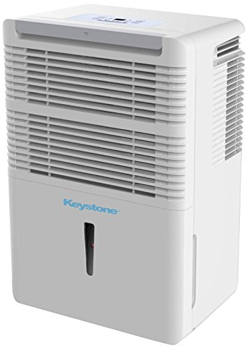 (Keystone KSTAD50B Energy Star 50-Pint Portable Dehumidifier for 3000 Sq. Ft. with 6.4-Pint Bucket Capacity and Full Bucket Alert, White)