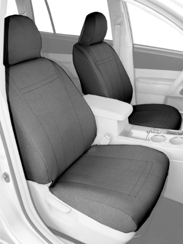 CalTrend Front Row Bucket Custom Fit Seat Cover for Select Dodge RAM Models - SportsTex (Light Grey) -