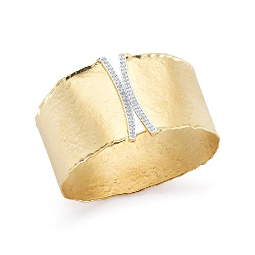 0.60ctw. Diamonds 14k Yellow Gold Matte-Hammer-Finish Scalloped Edge Cuff Bangle Bracelet