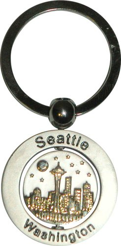 Seattle Souvenir Metal Keychain Featuring The Famous Seattle Skyline That Spins