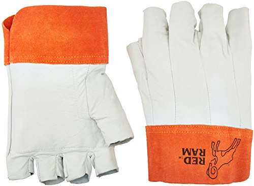 MCR Safety 4811 Red Ram Grain Goatskin Bundlers Fingerless Gloves with Clute Pattern, Size-11 ()