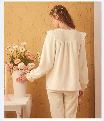 Mujeres Ytnga Ropa De Invierno Dormir Para Pijamas Mujer Cómodospijamassuaves Conjuntos White WUUrnYq0