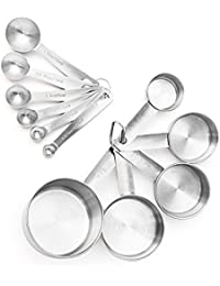 Buy 11-Piece Stainless Steel Measuring Cup and Spoon Set - Essential for all Cooking, Baking and Kitchen Ingredients... lowestprice