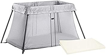 882ec882313 Image Unavailable. Image not available for. Color  BABYBJORN Travel Crib  Light - Silver + Fitted Sheet Bundle Pack