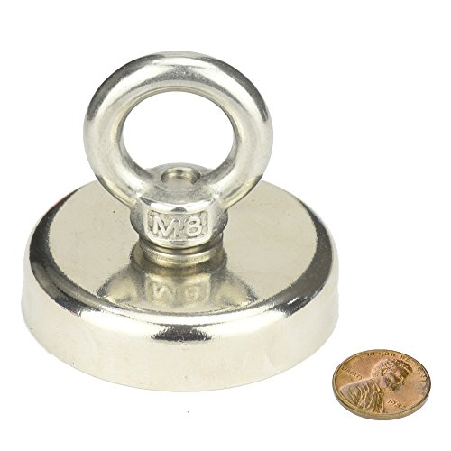 BIGTEDDY - Heavy Duty River Lake Salvage Fishing Recovery Magnet Strong Round M8 Rare Earth Neodymium Countersunk Magnetic Hooks Ceiling 112kg / 246 lbs. Pull Force
