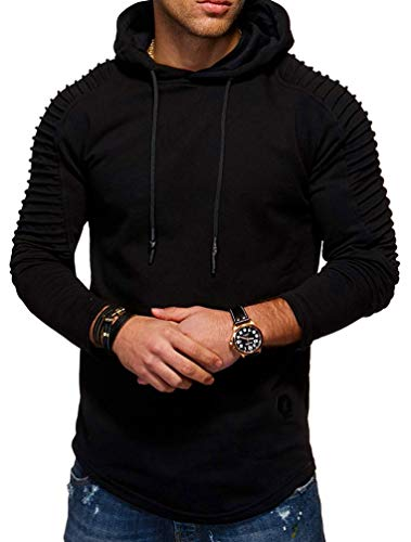 Nicetage Men's Round Neck Slim Solid Color Striped Pleated Raglan Sleeve Hooded Long Sleeve T-Shirt (HS80-Man Black ()