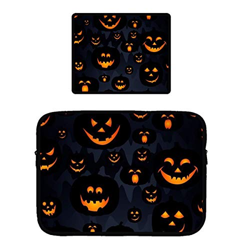 Water Resistant Tablet Sleeves Compatible for 13/15 inch Ultrabook/Chromebook Protective Netbook Case Bag Cover + Non-Slip Base Mouse Pad (Halloween Pumpkin Patterns) ()