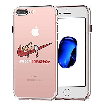 iPhone 7 Plus Case,iPhone 8 Plus Case, Nike Just Do it Tomorrow Spoof  Parody 3D Printed Cartoon Design Soft Clear TPU Cute Funny Case