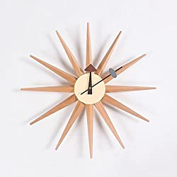 MCC Sunburst Atomic Wooden Wall Clock Mid Century Multi Color Handmade Antique Retro Telechron Danish Nelson Style , log