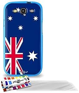 """Carcasa Flexible Ultra-Slim SAMSUNG GALAXY S3 de exclusivo motivo [Australia Bandera] [Azul] de MUZZANO  + 3 Pelliculas de Pantalla """"UltraClear"""" + ESTILETE y PAÑO MUZZANO REGALADOS - La Protección Antigolpes ULTIMA, ELEGANTE Y DURADERA para su SAMSUNG GALAXY S3"""