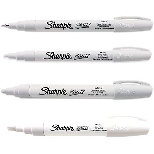 Based White Kit - Sharpie Paint Marker Oil Based White All Sizes Kit with Ex Fine, Fine, Medium & Bold