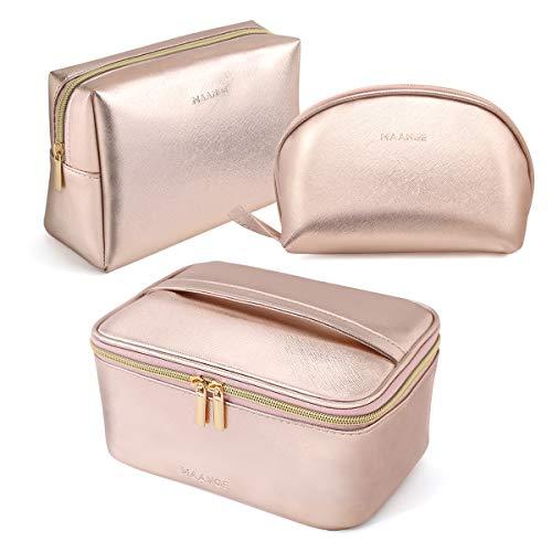 MAANGE 3 Pcs Makeup Bag Portable Travel Cosmetic Bag Large Makeup Bag Organizer with Gold Zipper Waterproof Toiletry Bags for Women and Girls(Rose Gold)