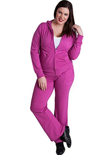 Ladies Magenta Plus Size Zip-up Hoodie & Drawstring Sweatpants Set