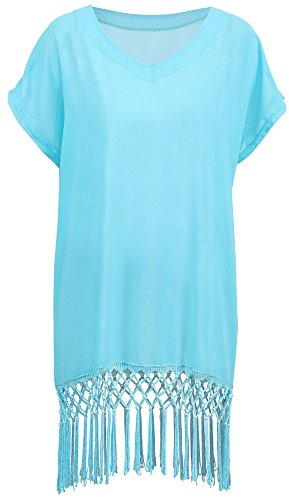 Simplicity Loose Fit Swimsuit Bikini V-Shape Cover Up Dress, 7400_Sky Blue