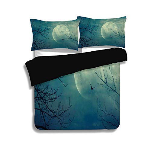 Black Duvet Cover Set Full Size,Horror House Decor,Halloween with Full Moon in Sky and Dead Tree Branches Evil Haunted Forest,Blue,Decorative 3 Pcs Bedding Set by 2 Pillow Shams for $<!--$108.89-->