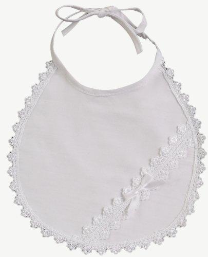 White Cotton Laced Christening Baptism Bib
