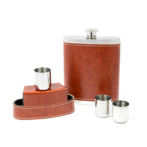Shot Flask - Stainless Steel 8 oz Hip Flask with 3 .50 Oz Shot Glasses & Flask Funnel - Everything You Need to Pour Shots on the Go - BarMe (1/2 Oz Whiskey Glass)