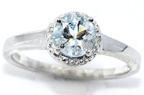 Elizabeth Jewelry Genuine Aquamarine & Diamond Round Ring .925 Sterling Silver Rhodium Finish