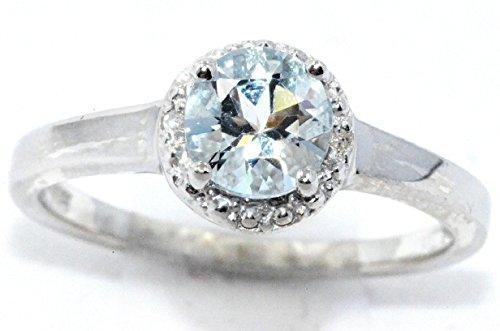 Genuine Aquamarine & Diamond Round Ring .925 Sterling Silver Rhodium (Aquamarine Round Ring)