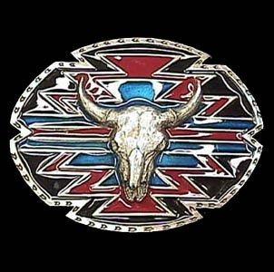 (Southwestern Buffalo Skull Belt Buckle - Pewter Belt Buckle)