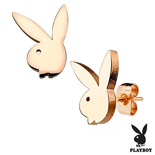 Playboy Bunny 316L Stainless Steel Earring Studs Pair In Rose - Mens Playboy Earrings