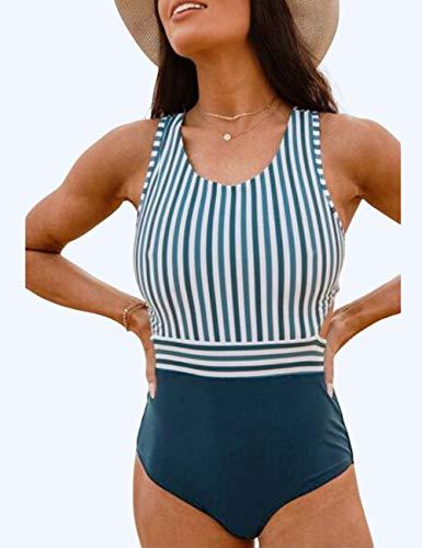 MEROKEETY Women's Lilies Striped Print One Piece Tank Top Swimsuit Cut Out Zip Up Monokini Swimwear