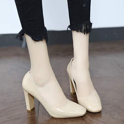 YMFIE Señoras de Moda Retro Charol de Cuero Boca Baja Sexy Tacones Altos Zapatos de Trabajo Zapatos Individuales A