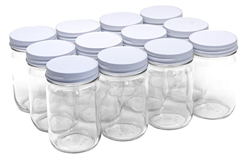 Mason Canning Jar (North Mountain Supply 12 Ounce Glass Regular Mouth Mason Canning Jars - With White Safety Button Lids - Case of 12)