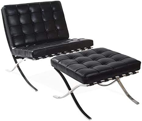 Knoll Classics Barcelona Chair & Ottoman - Black Aniline Leather