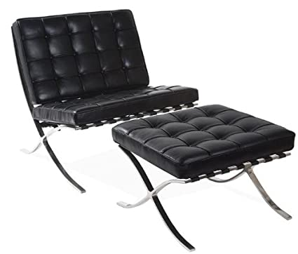 Barcelona Chair u0026 Ottoman - Black Aniline Leather  sc 1 st  Amazon.com & Amazon.com: Barcelona Chair u0026 Ottoman - Black Aniline Leather ...