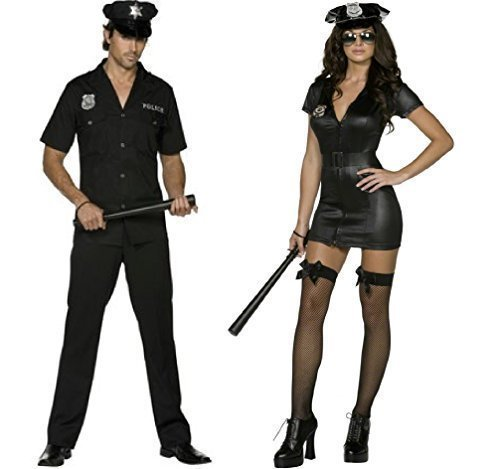 (Ladies & Mens Fever Police Officer Uniform WPC Law Enforcement Emergency Services Hero Heroes & Villains Cops & Robbers Couples Matching Fancy Dress Costumes (Ladies UK 12-14 & Mens Large))