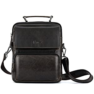 Kattee Vintage Leather Messenger Bag for men, Small Business Satchel Shoulder Bag