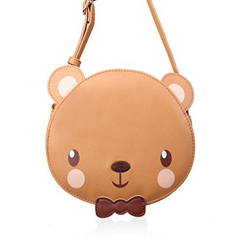 Ava & Kings Little Girl PU Faux Leather Purse Messenger Crossbody or Shoulder Bag for Kids, Teens, Toddlers, Cute Animal Face Designs - Brown Bear Face Handbag