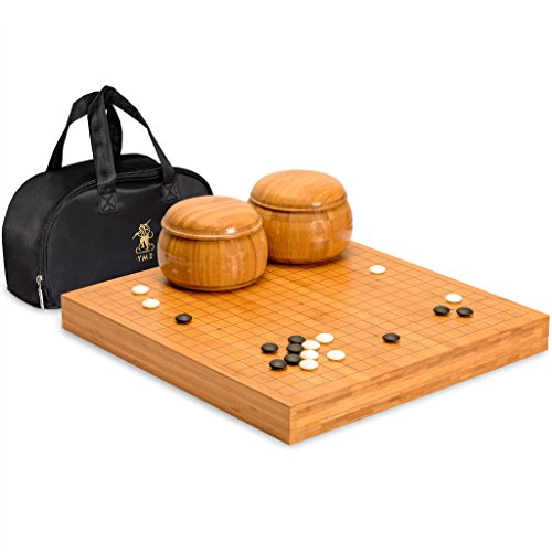 Yellow Mountain Imports Bamboo 2-Inch Reversible 19x19 / 13x13 Go Game Set Board with 9.2mm Double Convex Yunzi Stones and Bamboo Bowls