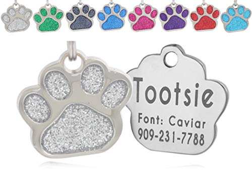 io tags Pet ID Tags, Personalized Dog Tags and Cat Tags, Custom Engraved, Easy to Read, Cute Glitter Paw Pet Tag (Silver) from io tags