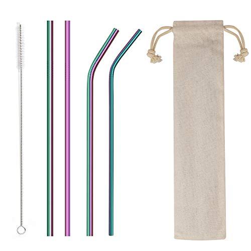 🥇 4PCS Reusable Metal Straws