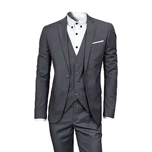 Mens Suits 3 Pieces Fitted Cut Classic Style One Button Formal Suits