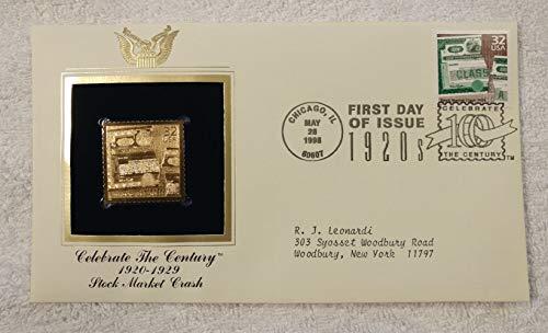 (The 1929 Stock Market Crash - Celebrate the Century (The 1920s) - FDC & 22kt Gold Replica Stamp plus Info Card - Postal Commemorative Society, 1998 - Wall Street, Dow Jones, Black Thursday )