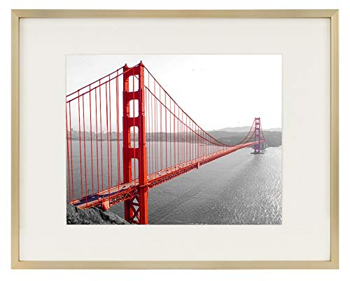 Frametory, 11x14 Gold Aluminum Frame with Ivory Mat for 8x10 Pictures/Photos - Wall Mounting - Real Glass, Swivel Back Tabs, Sawtooth Hanger - Portrait/Landscape Display - Metal Collection (Gold)