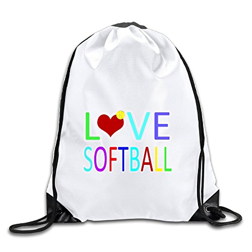 Hunson - Fashion Love Softball Sport Bag Drawstring Sling Backpack For Men & Women Sackpack