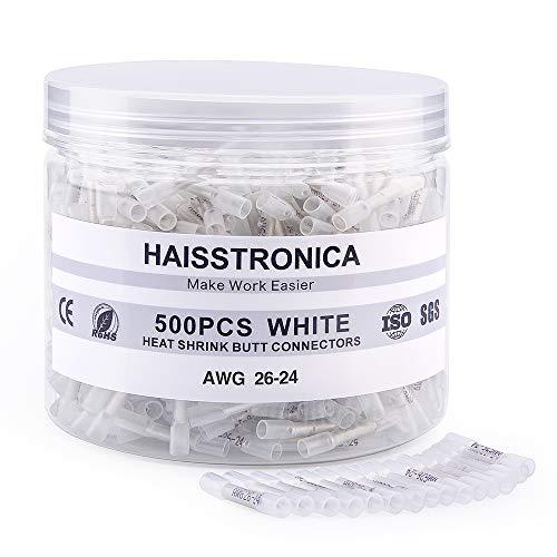 Haisstronica 500PCS White Heat Shrink Butt Connectors 26-24 Gauge-Insulated Waterproof Electrical Butt Connectors Marine Automotive Crimp -Butt Splice Connectors