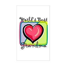 """CafePress - World's Best Grandma"""" [Engli Sticker (Rectangular - Rectangle Bumper Sticker Car Decal"""