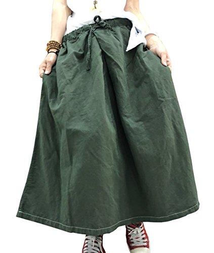 YESNO Y69 Women Casual Loose Long Maxi Skirts Drawstring Elastic Waist A Skirt/Pockets