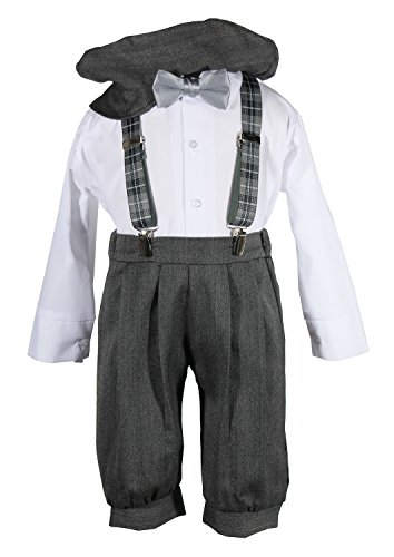 Boys Grey Knicker Set with Grey Plaid Suspenders Baby, Toddler & Boys Sizes
