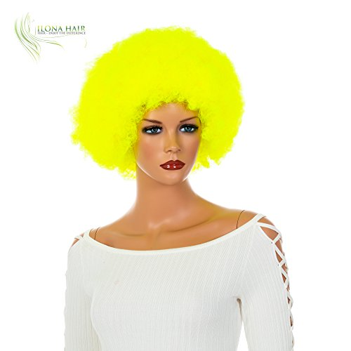 Neon Clown Orange Afro Wig - Neon Yellow Afro Wig neon Clown