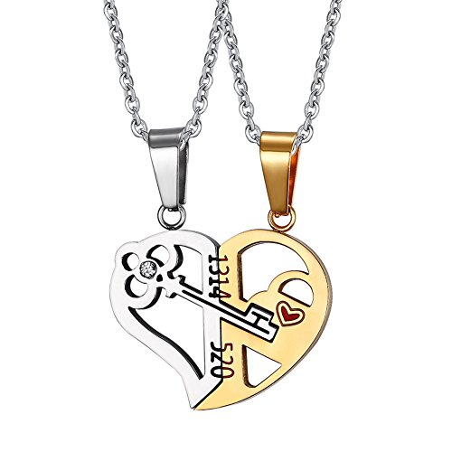 Love Heart Puzzle Key Inside Stainless Steel Pendant Necklace for Men Women Couple,Free Chain (Key To Heart Necklace)