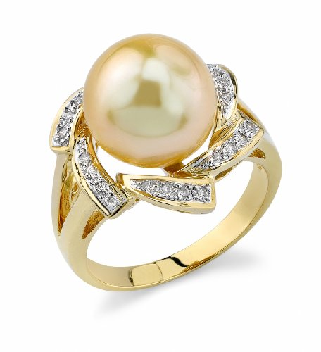11mm Golden South Sea Cultured Pearl & Diamond Nova Ring in 18K Gold